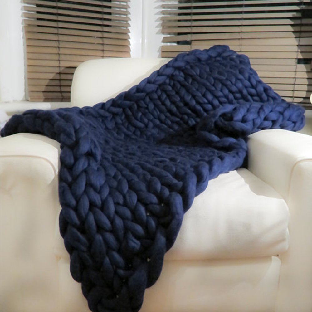 Ribbed Navy Blue Chunky Knit Blanket,Handmade Gifts,Wool Blanket,Arm Knitted Blanket,Chunky Blanket,Knit Throw, Super Bulky Blanket,79x79in by JohnWhitley (Image #2)
