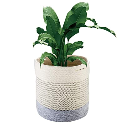 Plant Basket, ZOUTOG Woven Cotton Rope Basket Indoor Planter Cover Up to 10 Inch Pot, Storage Organizer with Handles, 11'' x 11'' : Garden & Outdoor