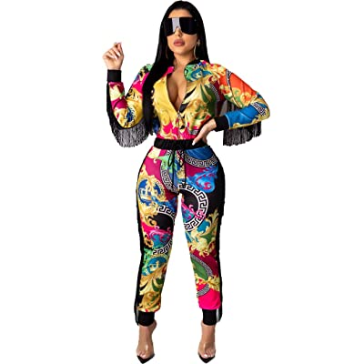 ECHOINE Women Floral Print 2 Piece Outfits Tassel Long Sleeve Zip Up Bodycon Jacket Pants Set Tracksuits Jumpsuits S XXL at Women's Clothing store