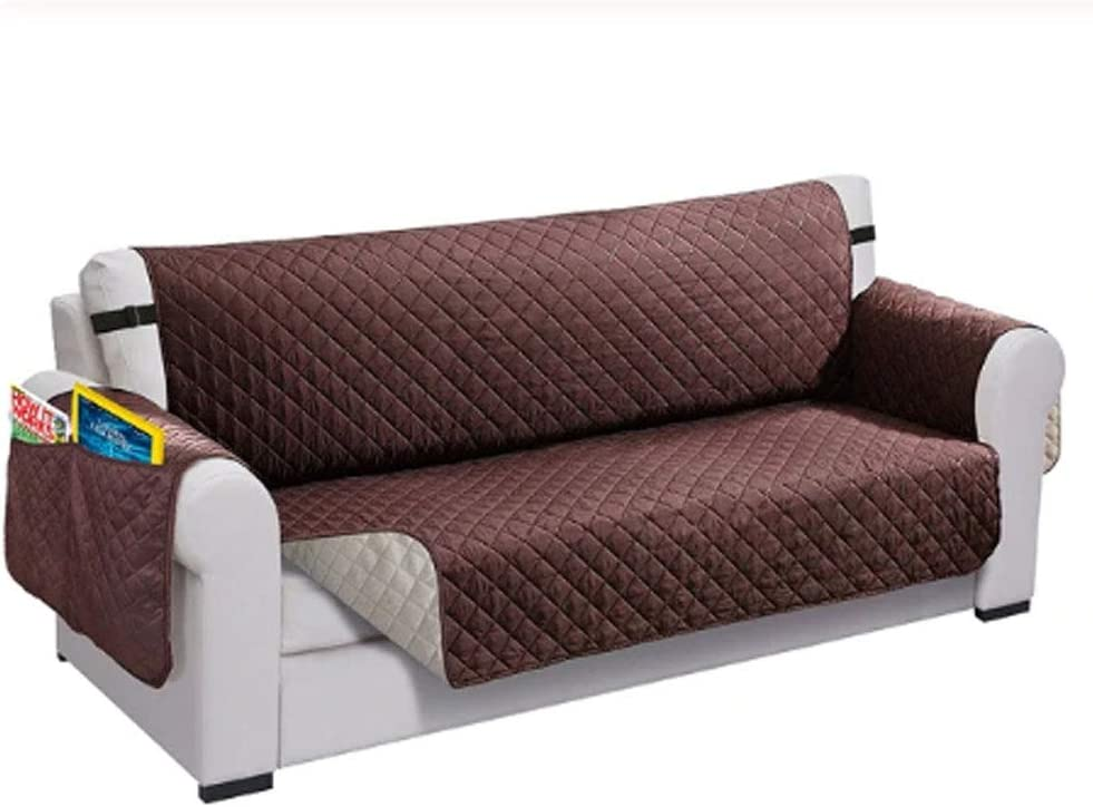 Deals Waterproof Quilted Sofa Covers Furniture Protector Machine Washable 1/2/3 Seater (Coffee, 3 Seater)