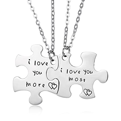 4083a7a487f87 Image Unavailable. Image not available for. Color  I Love You More I Love  You Most Couple Necklace Set ...