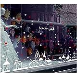 Heekpek® Noël Magasin Fenêtre Décoration Stickers Muraux Noël Flocons De Neige Ville