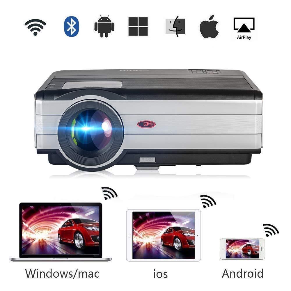 LED プロジェクター 1080P 4200ルーメン 液晶高解像度映写機 WIFI無線接続 Bluetooth USB HDMI【Android 6.0】, 天井/ 三脚付け可能,家庭用 ホームシアター/テレビ/ゲーム/映画/動画/パーティーなど リモコン付き B07NVRC7C7 LED プロジェクターWIFI無線接続 Bluetooth