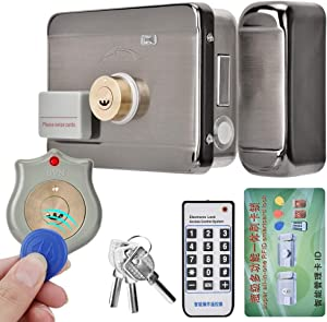 Tangxi Electronic Door Lock, DC 12V Electronic Access Intelligent Door Lock with Remote Control System+ID Double Head+4 Modes Unlock Way for Home/Office