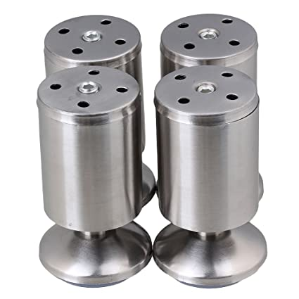 BQLZR Stainless Steel Kitchen Adjustable Feet Round 2u0026quot; Diameter  4u0026quot; Height Furniture Leg Pack