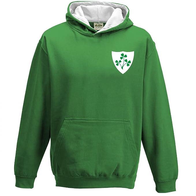 Sudadera con capucha para niños, diseño retro de Selección Irlandesa de Rugby KELLY-GREEN-AND-HEATHER-GREY M/ 76 cm: Amazon.es: Ropa y accesorios
