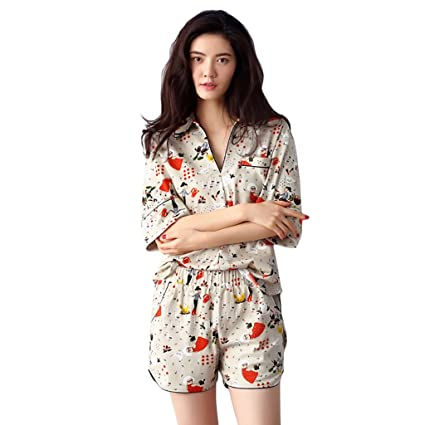 Pure Cotton pajamas fashion T-shirt short pants Two pieces set home clothing sweet (