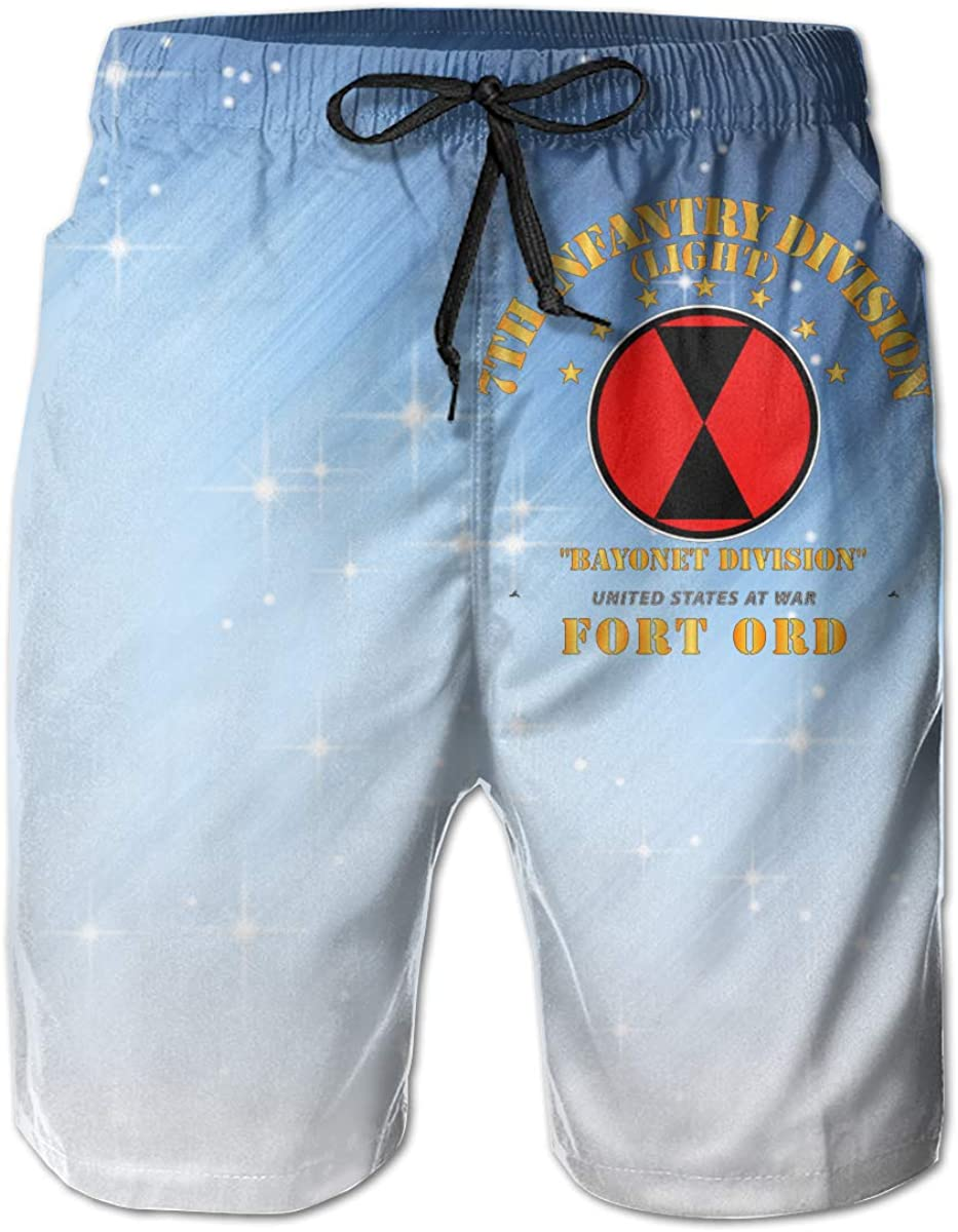 Ft Ord Mens Casual Classic Fit Short Summer Beach Shorts 7th Infantry Division