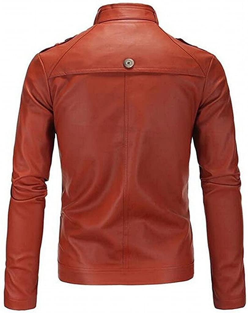 KEBINAI Mens Trendy Stand Collar Zip Up PU Leather Jacket Fashion