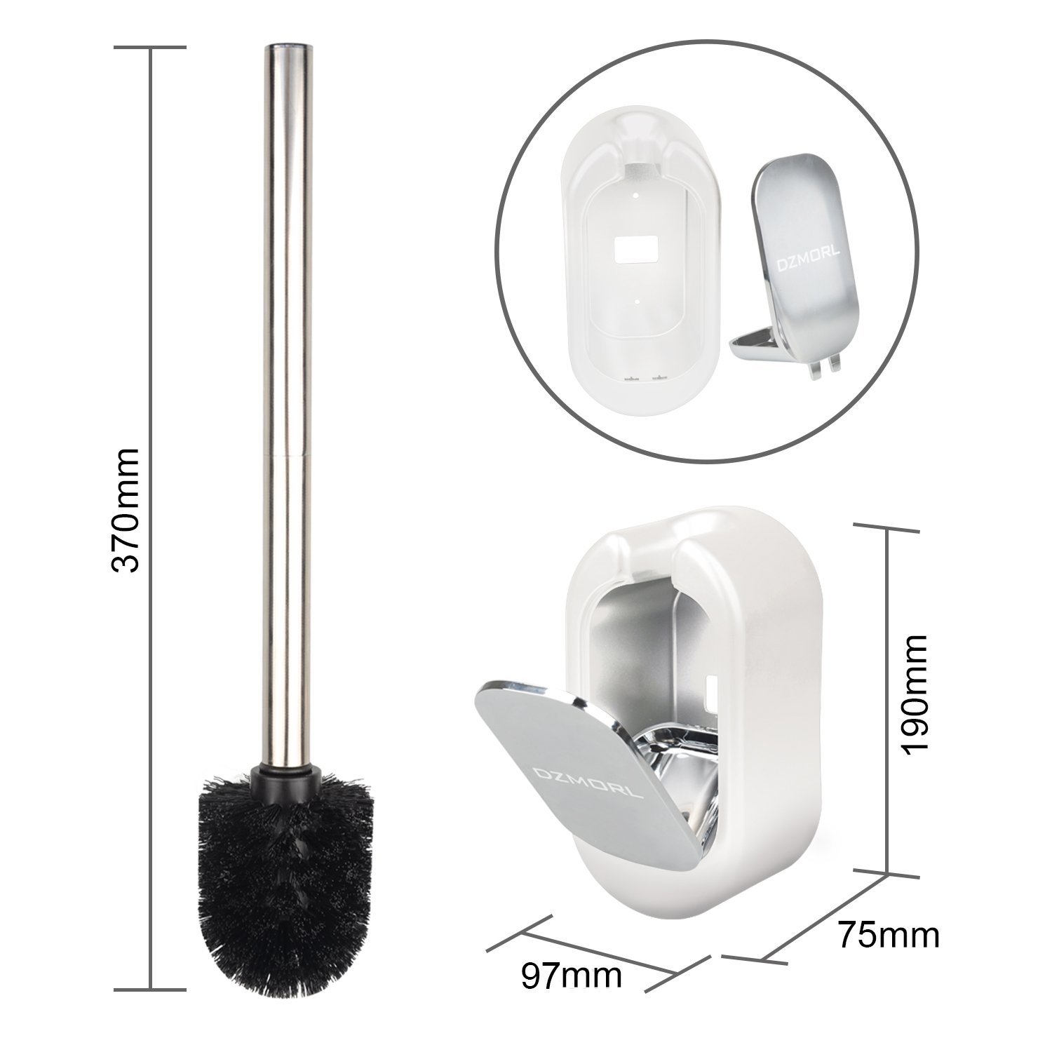 JIMS STORE Toilet Brush Set Wall Mounted Closed Toilet Brush Holder Removable Toilet Brush with Stainless Steel Handle for Bathroom Cleaning White