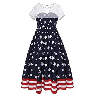 4b18355c11cc Vincent&July Women Flag Printing Mesh Patchwork Short Sleeve Party Dress  July 4th (Small)