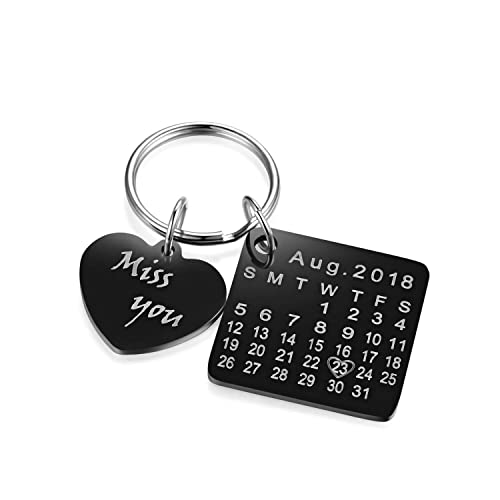 Comfybuy CF to Remember Sepcial Day Personalized Birthday for Men Women s  Custom Stainless Steel Calendar Keychain 8221b1051a
