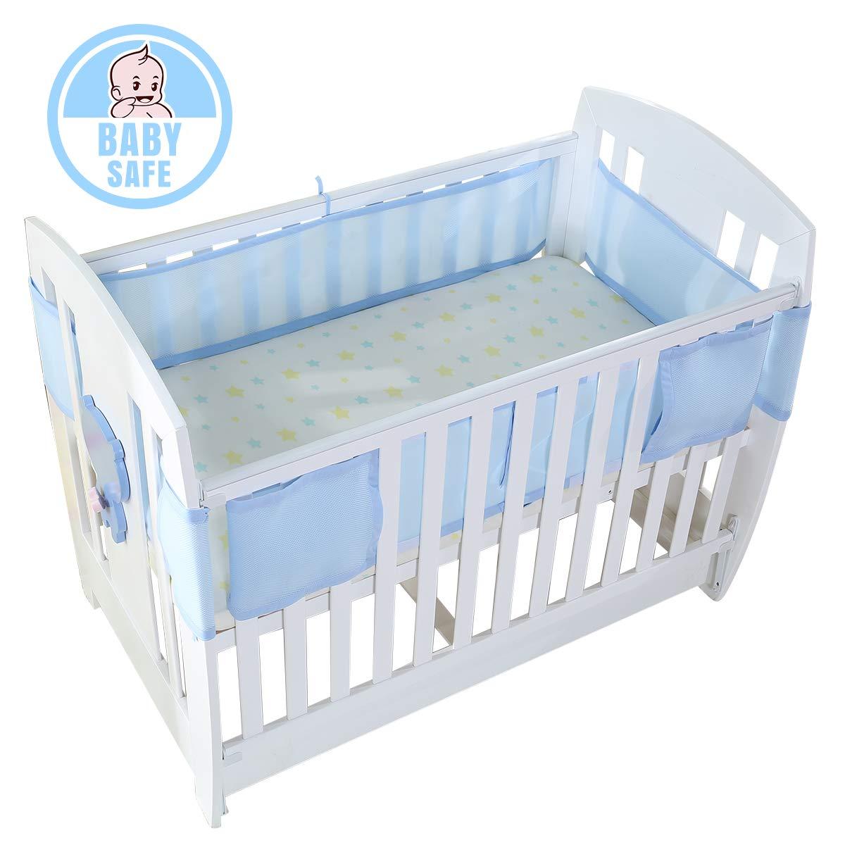 Baby Kinderbett atmungsaktiv Mesh Infant Nestchen Kinder Bumper Kinderbett rutschsicher Babybett Sets Baby Bettwäsche um Sicherheit Displayschutzfolie ITRAZ