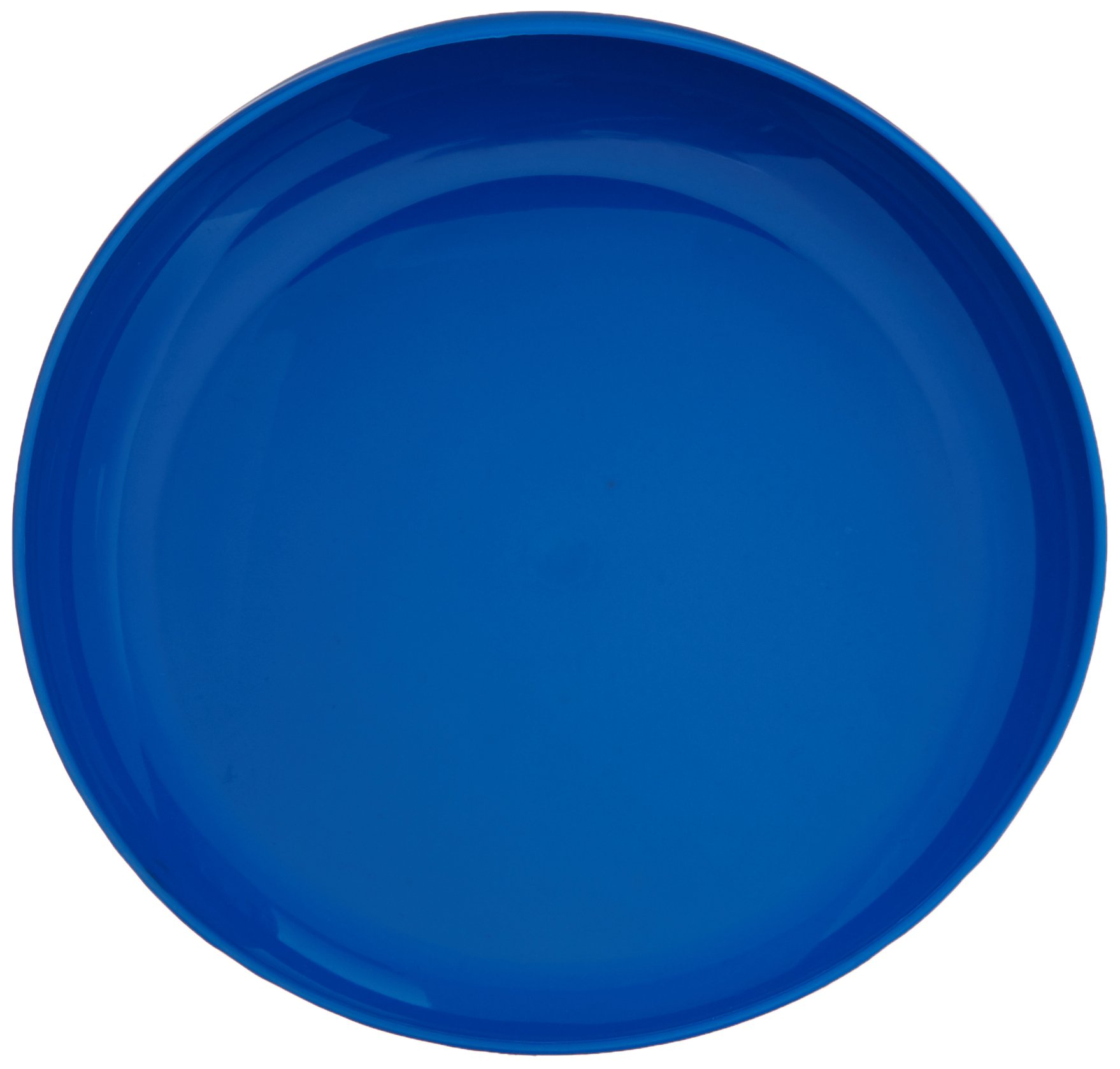 Sammons Preston Blue Round Scoop Dish, Unbreakable 8'' Scooper Bowl for Elderly, Disabled, & Handicapped, Plate with Non Skid Rubber Padded Bottom for Independent Eating, Self-Feeding Aid