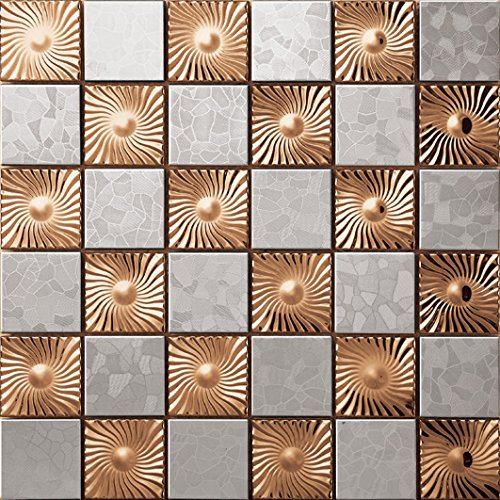 Decorative 12 in. x 12 in. Meshback Silver Stainless Steel Rose gold Metal Mosaic Kichen Backsplash Wall Tiles- SA007-N (11PCS 10.76Sq.ft) -