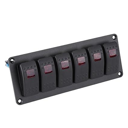6 Gang Car Marine Boat Red LED Light Switch Panel Waterproof Rocker Switch Panel