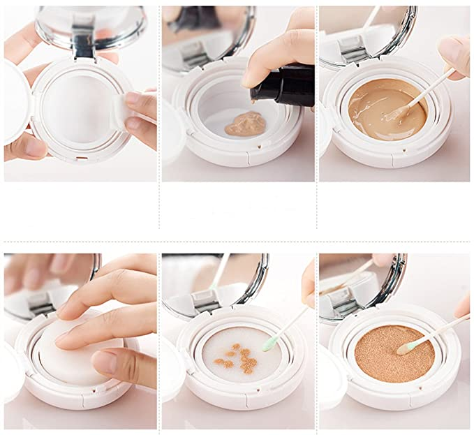 15ml 0.5oz Air Cushion Powder Puff Box Base líquida BB CC Cream Container Holder Powder Case con Powder Puff Air Cushion Esponja y espejo (Oro): Amazon.es: ...