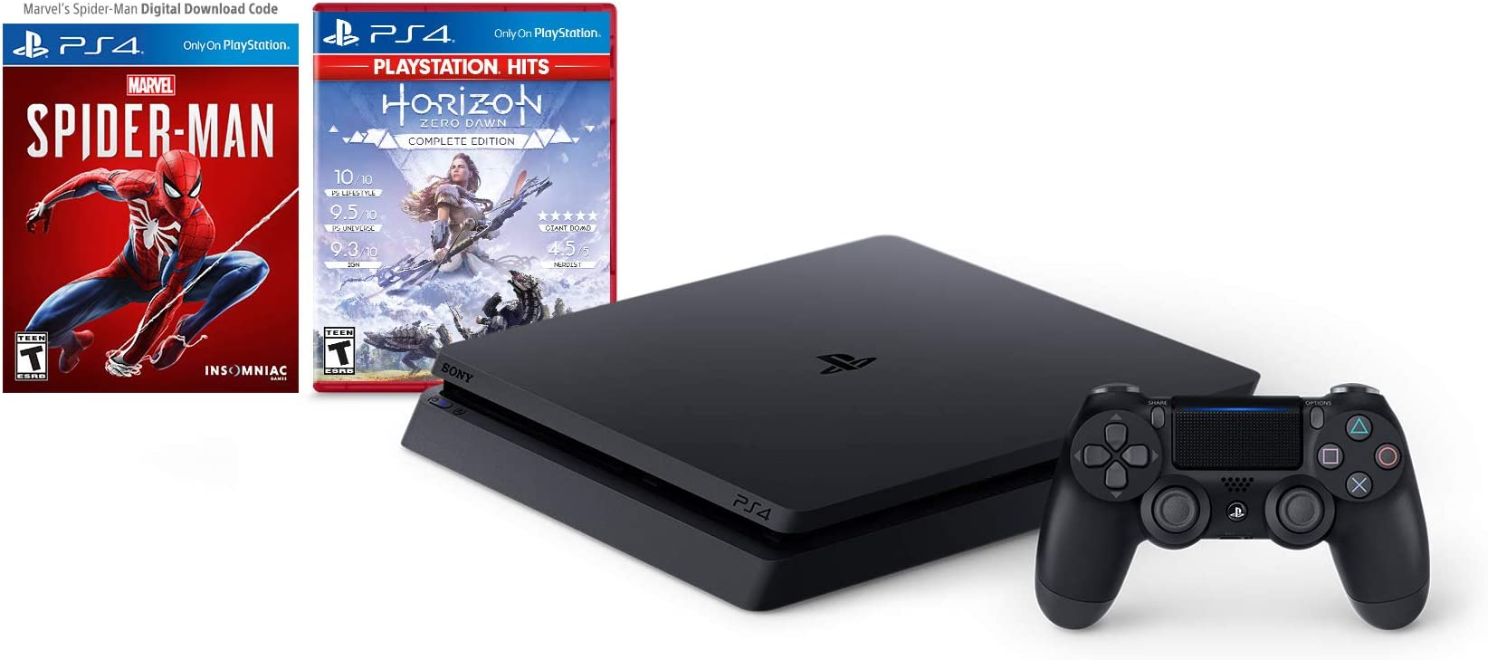Play Station 4 Slim 1 Tb Console   Marvel's Spider Man [Digital Code] + Horizon Zero Dawn Complete Edition Hits Bundle by By          Sony