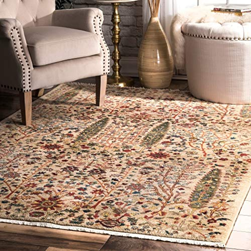 LL 5x7'5 Red Orange Green Southwest Tribal Area Rug Rectangle Shaped, Indoor Tan Flower Carpet for Living Room Native Floral Southern Aztec Paisley Vines Rustic Soft Durable, Polypropylene