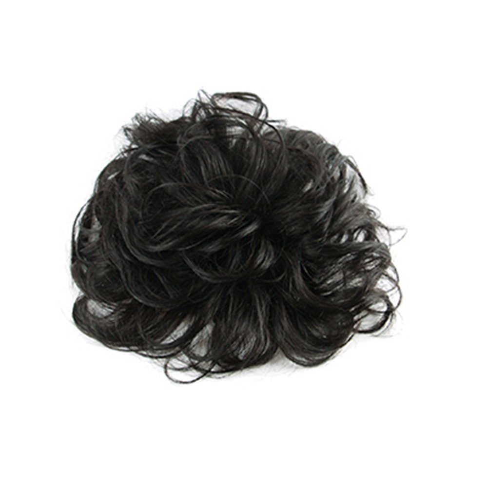Remeehi 12*12cm Fluffy Natural Curly Real Human Hair Topper Invisible Clip in Hair Piece Toupee Replacement for Thin Hair Dark Brown