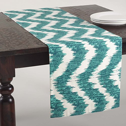 SARO LIFESTYLE 1032 Serpentine Collection Printed Wavy Design Table Runner, 16 x 72-Inch, Sea Green, 16