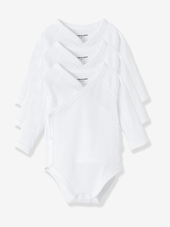 VERTBAUDET Lot de 3 bodies naissance pur coton blanc manches longues Blanc 3M - 60CM