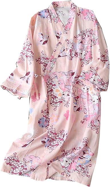 Vestido Camisero de algodón japonés para Mujer Kimono Pijama camisón-grúa A: Amazon.es: Ropa y accesorios
