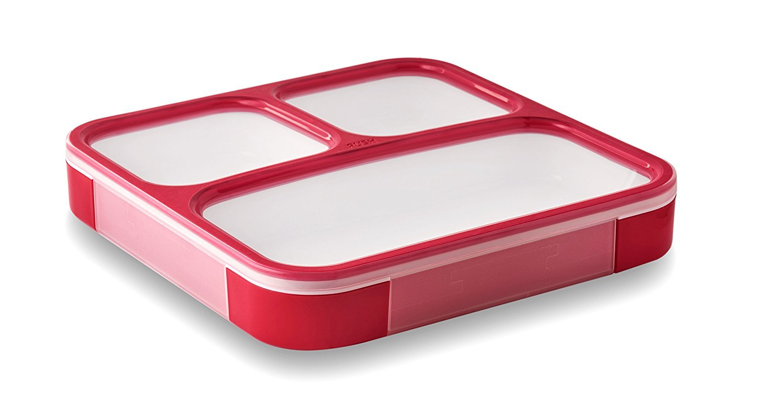 LeOx- Slim Lunch Box Bento Box with Compartments Food Container Storage Food Carrier Lunchbox - blue/transparent (red)