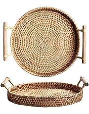 DOKOT Rotting rund serveringsbricka med handtag vävda bröd kaka bakverk korgar (28 cm diameter)