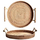DOKOT Round Rattan Tray with Handles Tea Bread Coffee Table Serving Basket, 8.66 inch/22cm