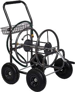 Fit Right Garden Hose Reel Cart, Hose Reel Cart with Wheels, Durable Powder Coat Finish, Storage Basket Design, Holds 300- Feet of 5/8 Inch Hose (Metal Grey)