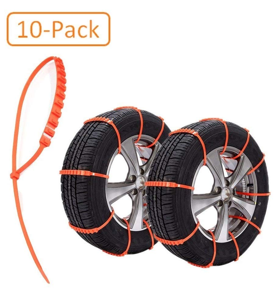 Car*World Easy Universal Fit Emergency Anti-Skid Mud Snow Survival Traction Multi-function Car Tire Chains for Pickup SUV Car Van ATV Jeep Honda Toyota Nissan VW Ford Mercede Benz Tyre (10-pack)