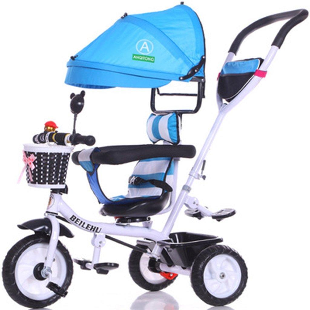 4-in-1 Kinder Dreirad Paw Patrol, Trolley Fahrrad Kinder Push Trikes für Baby 3 Rad Fahrrad mit Anti-UV-Markise (Weiß Bike + Blau Markise) (Farbe   A)