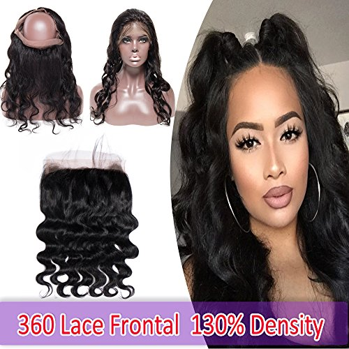 7A Unprocessed 360 Lace Frontal Closure Body Wave Brazilian Human Hair 360 Closure with Baby Hair Pre-plucked Free Part Wavy Curly 130% Density Natural Black 16""