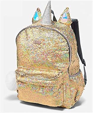 Justice Unicorn Flip Reversible Gold Sequin Large Backpack