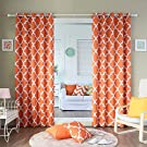 "Best Home Fashion Room Darkening Blackout Moroccan Print Curtains - Antique Bronze Grommet Top - Orange - 52""W x 84""L - (Set of 2 Panels)"