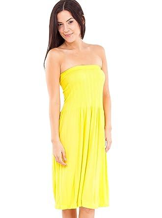 Strapless Seamless Yellow Smocking Tube Dress at Amazon Women's ...