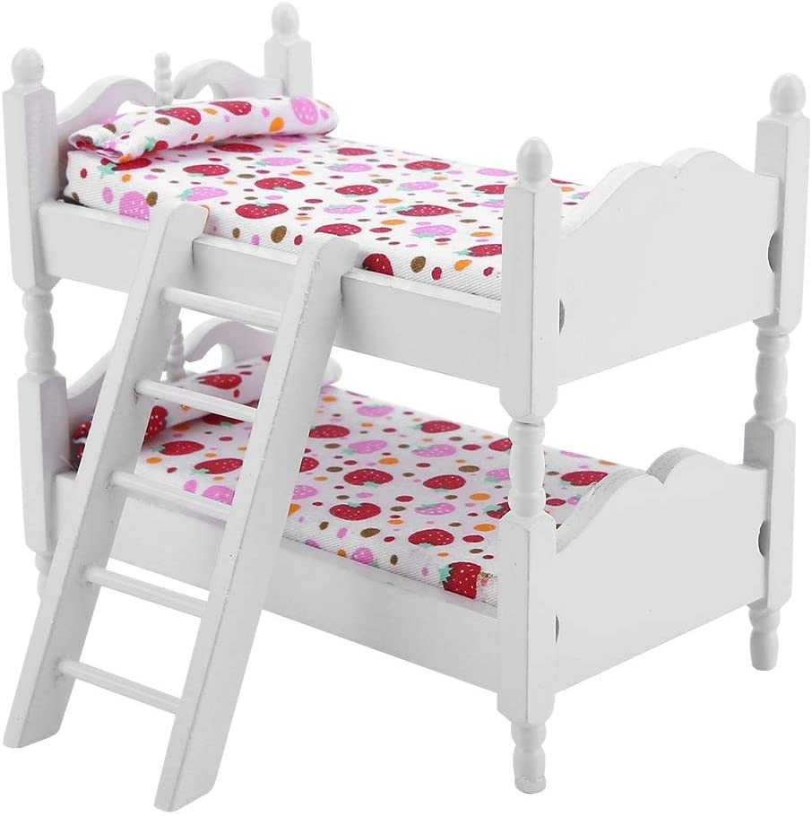 puseky 1:12 Doll House Furniture, Kids Children Bedroom Mini Model Bunk Bed Toys, 3D Model Kits Gift with Ladder and Bedding