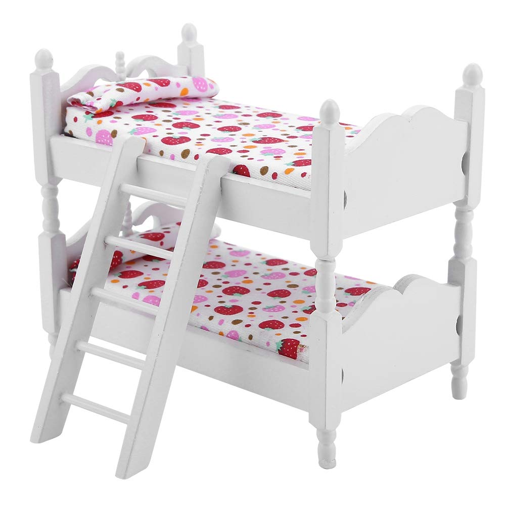 iFCOW Doll Bunk Bed, 1:12 Doll House Mini Furniture Children Bedroom Model Bunk Bed Toys (Pink strawberry)
