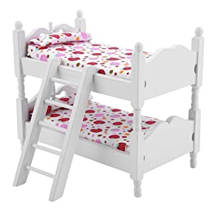 1:12 Doll House Furniture,Mini Bunk Beds Children Bedroom Model Wood Toys Colorful Living Room DÃcor