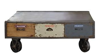 Pureday Vintage Loftstyle Couchtisch Mit Schubladen Auf Rollen Grau