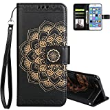 Aeeque Black Mandala Flowers Wallet Case for iPhone 7 Plus 2016 5.5 inch, Faux Leather Kickstand Function Magnetic Clasp with Credit Card Slots Holster Covers