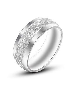 Daesar Stainless Steel Ring for Men Polished Diamond Pattern Ring Silver Ring Size 9