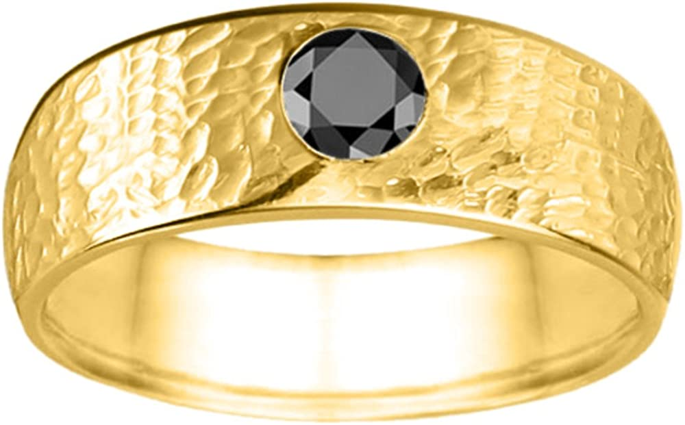Size 3 to 15 in 1//4 Size Intervals 0.25Ct Yellow Plated Silver Gents Wedding Ring Black Cubic Zirconia