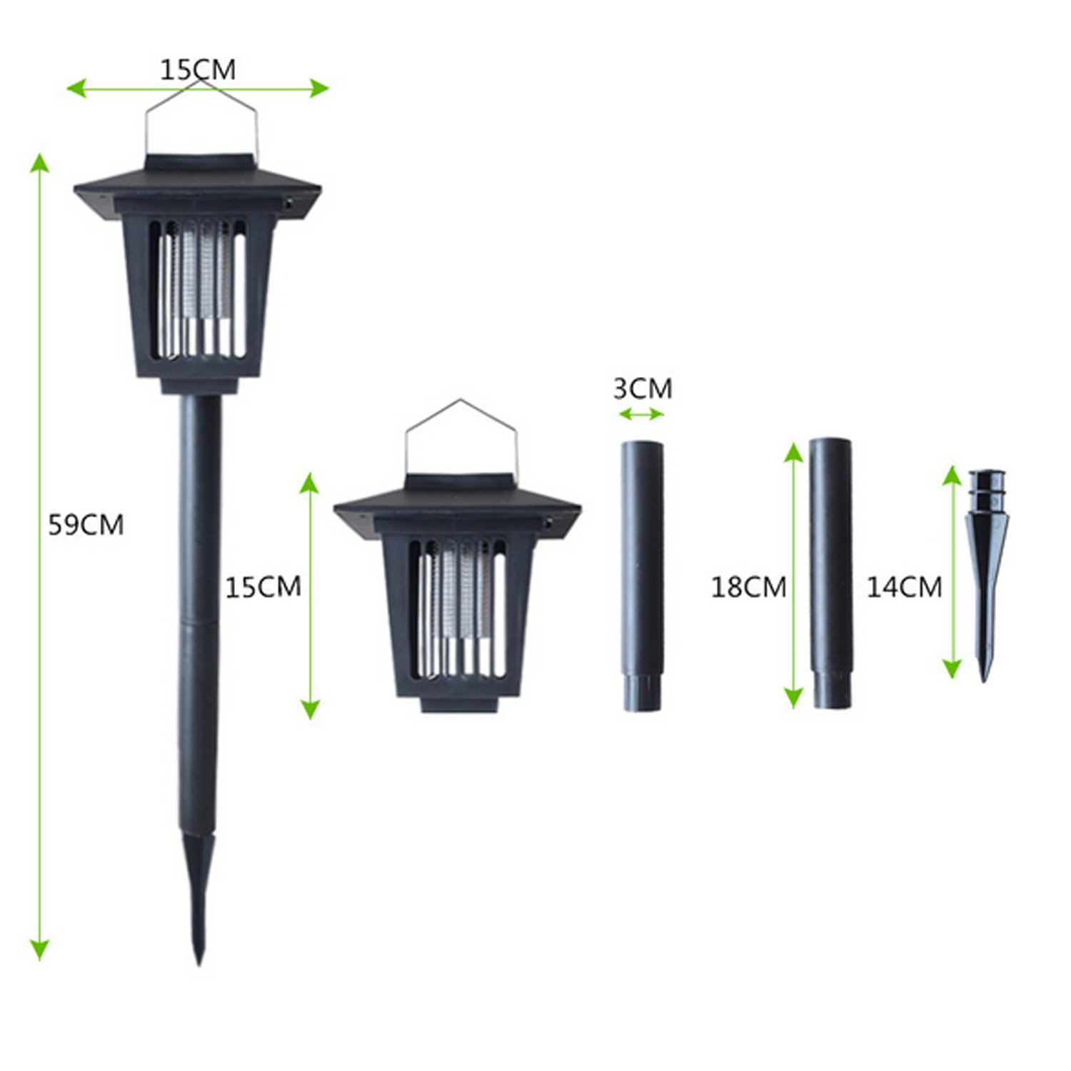 Solar Powered Bug Zapper Light, Solar Mosquito Killer Insect Killer Indoor Outdoor Fly Pest Trap Lamp Portable Garden Lawn Light For Garden, Patio, Outdoor Ground Residential, Commercial and Industri by THE SAFETY ZONEY (Image #3)