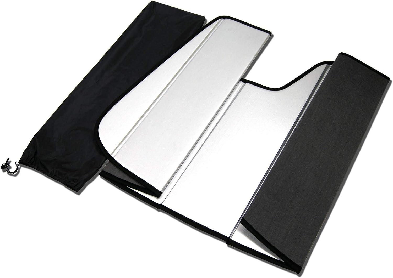 Sunshade Visor Leatherette Like /& Grey Felt Finish 1-pc Set Compatible With 2011-2020 Ford Fiesta TuningPros SS-106-L Custom Fit Car Windshield Sun Shade Protector
