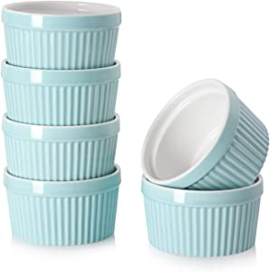 DOWAN 8 Oz Porcelain Ramekins - Souffle Dish Ramekins for Creme Brulee Pudding Oven Safe, Classic Style Ramekins Bowls for Baking, Set of 6, Blue
