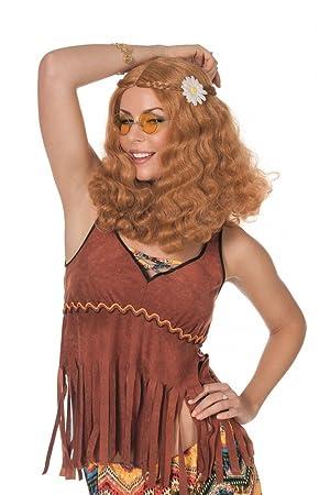 shoperama Rojo Blonde años 60 Flower Power Hippie Peluca con Flor Ondas