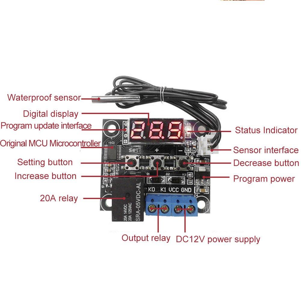 Soldmore7/Digital contr/ôleur de temp/érature Thermostat R/égulateur de calibrage DC 5/V//12/V//24/V 125/Vac LED Thermom/ètre digital Thermo Controller Module de commutation /étanche NTC Capteur