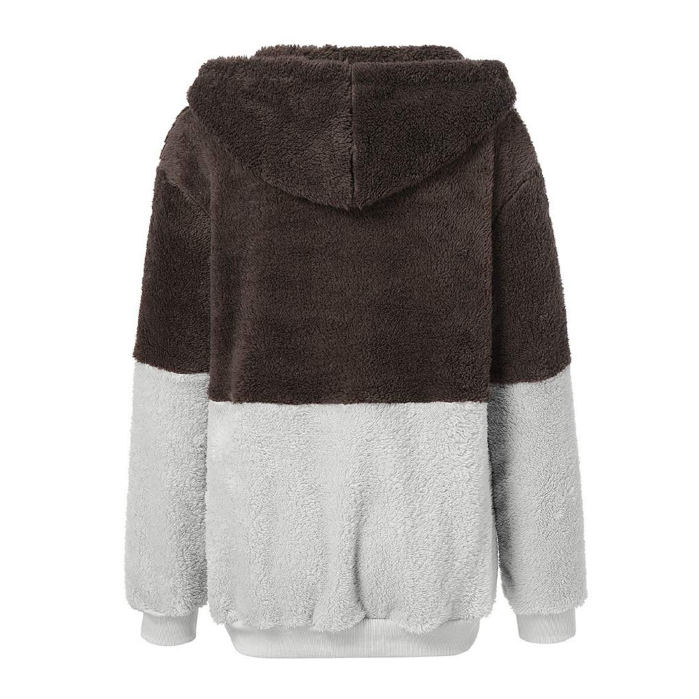 FNKDOR Femme Veste Polaire Zippé Sweat-Shirt à Capuche Manteau Hoodie Chaud Automne Hiver Y Café